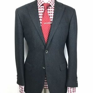 Corneliani Mens Charcoal Grey Pinstriped Slim Fit
